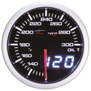 52mm Celsius Digital Oil Temp Gauge White / Amber