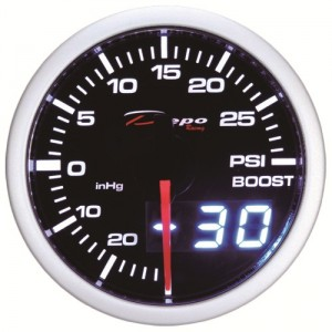 52mm BAR Digital Turbo Boost Gauge White / Amber