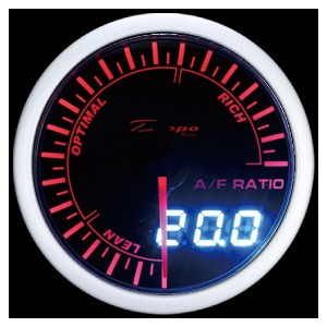 60mm Digital Air / Fuel Ratio Gauge White / Amber