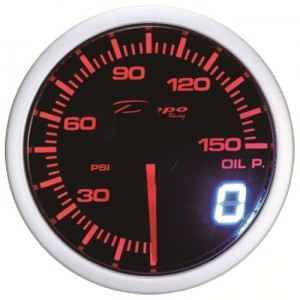 52mm PSI Digital Oil Pressure Gauge White / Amber