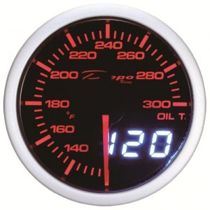 60mm Celsius Digital Oil Temp Gauge White / Amber