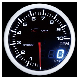 60mm Digital Tachometer Gauge White / Amber