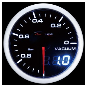 60mm BAR Digital Vacuum Gauge White / Amber