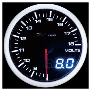 52mm Digital Volt Gauge White / Amber